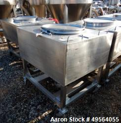 Used- Portable Product Stainless Steel Transfer Tote, Approximate 35 Cubic Foot.