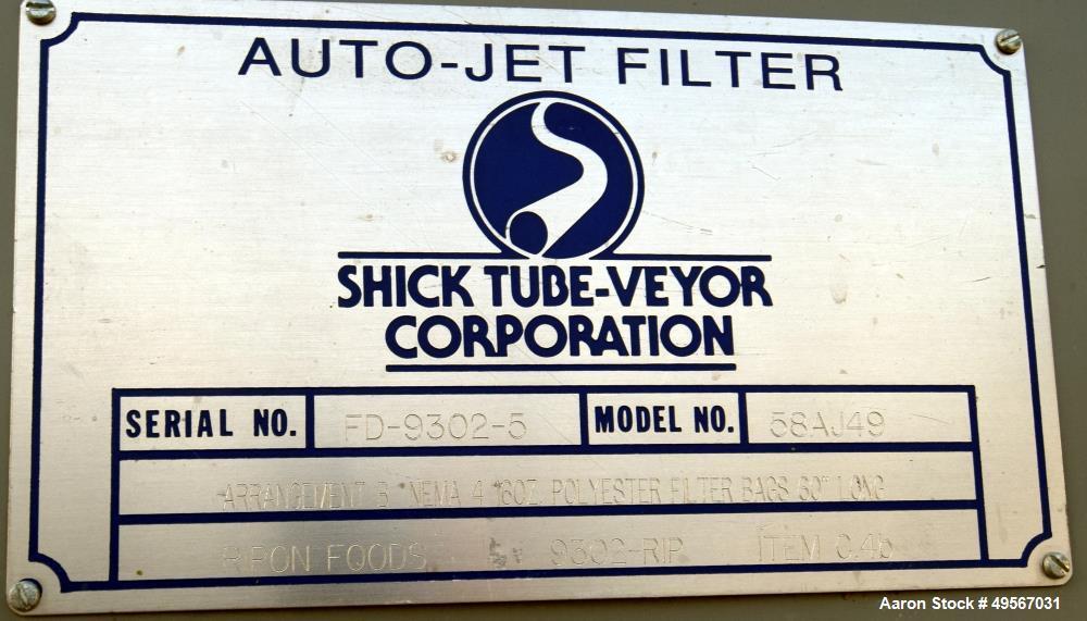 "Used- Schick Tube-Veyor Bin With Auto-Jet Filter, Carbon Steel. Bin approximate 125 cubic feet, 90"" diameter x 36"" straight ..."