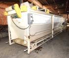 Used- Store-Veyor Belt Accumulator, Approximate 33' Long, Carbon Steel. Bottom belt approximate 84
