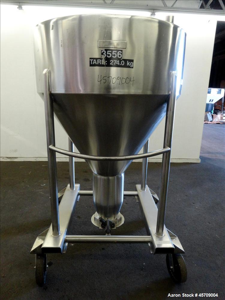 "Used- United Utensils Powder Tote Bin, Approximate 20 Cubic Feet, 304 Stainless Steel. Approximately 48"" diameter x 17"" stra..."