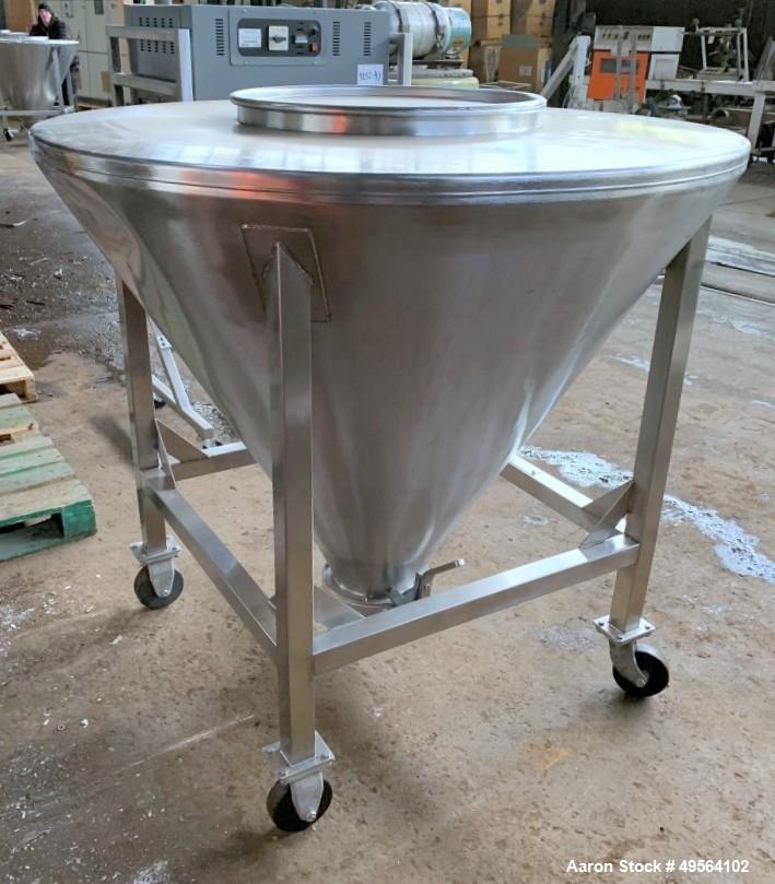 "Used- United Utensil Tote Bin,  16 Cubic Feet, 304 Stainless Steel Construction. Approximately 52"" diameter x 42"" deep cone,..."