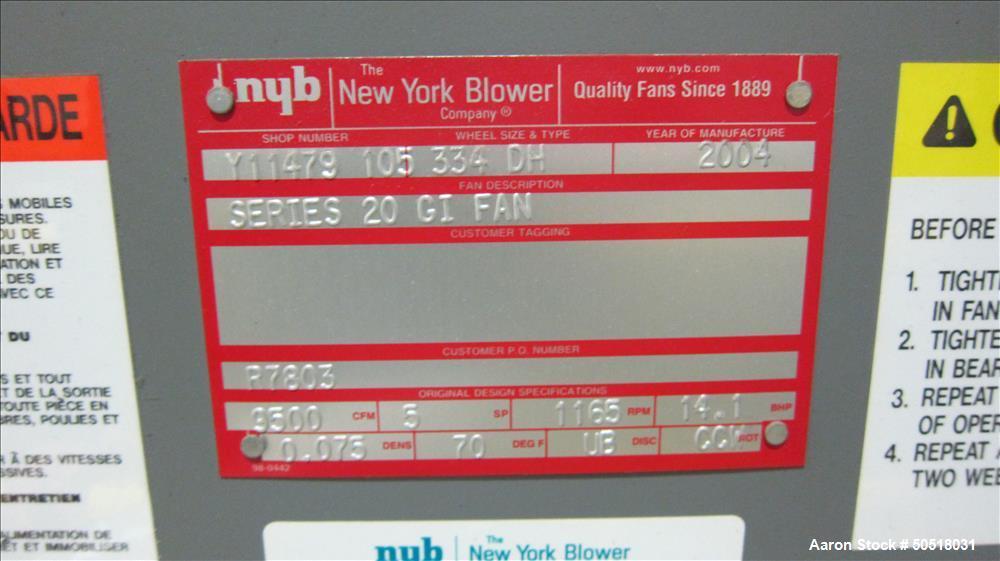 Used- New York Blower Series 20 GI Fan. Built 2005.