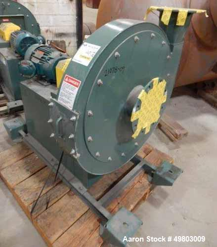 Used- New York Blower Pressure Blower, Carbon Steel. Rated 538 CFM at 30.6 SP at 2923 rpm at 5.29 BHP. Driven by a 7.5hp, 3/...