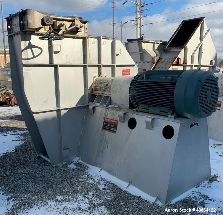 """Used- Robinson Industries 350 HP Radial Blower, Type RB122. size 49- 1/"""" fan, with 350 hp, 460 volt motor, 21"""" x 42"""" top dis..."""