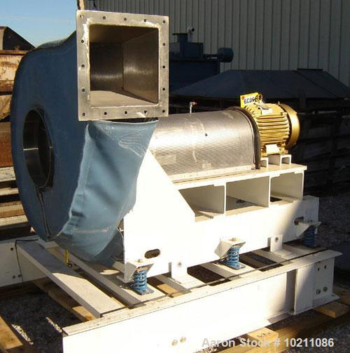 "Used-Spencer Blower, Catalog #-M1550-SS. 3500 cfm at 12"" S.P. Inlet temp 70 deg F; inlet press 14.7 psig; 20 hp, 1765 rpm, 2..."
