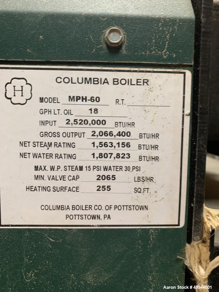 Used- Columbia Boiler, Model MPH-60.