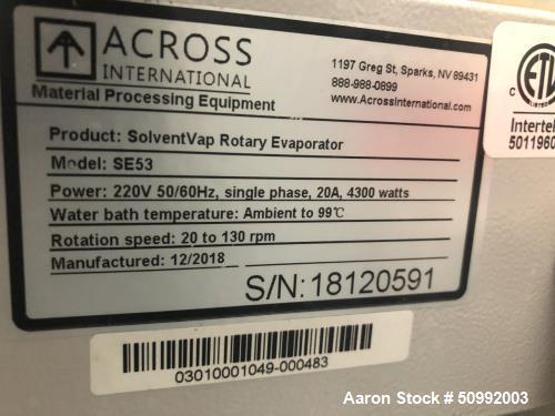 Used- Across International SolventVap 20L Rotary Evaporator with Chiller