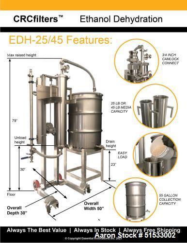 Used-CRCfilters EDH-25 High Efficiency Ethanol Dehydration System