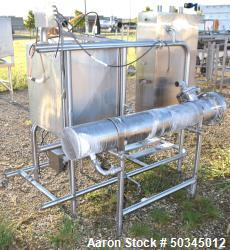 """Used- Enerquip U"""" Tube Heat Exchanger, Approximately 43 Square Feet, Horizontal. 304L Stainless steel shell rated 150 psi at..."""