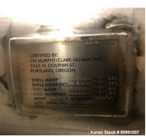 Used- CH Murphy Approximate 50 Gallon Stainless Steel Jacketed Storage Tank