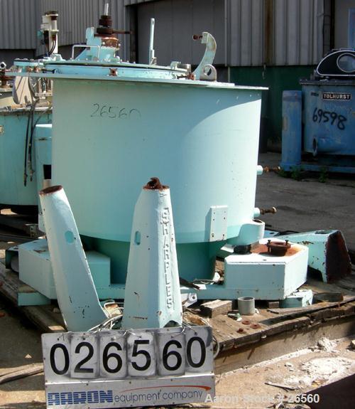 USED: Sharples T-1300 Tornado 48 x 24 perforate basket centrifuge. Bottom discharge. Max bowl speed 1150 rpm. 50 hp hydrauli...