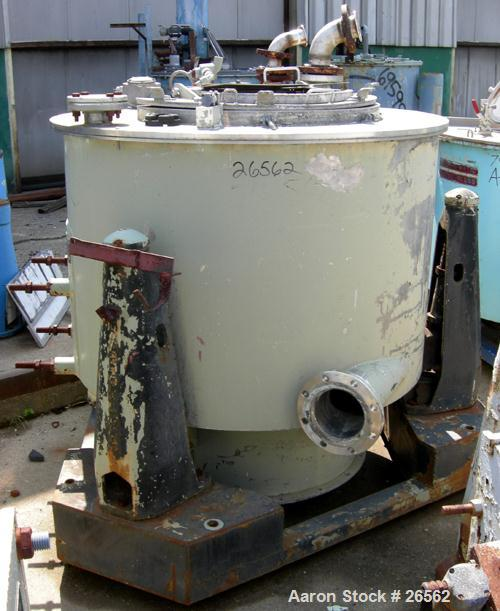 Used- Sharples T-1300 Tornado 48 x 24 Perforate Basket Centrifuge, 316 Stainless Steel. Bottom discharge. Maximum bowl speed...