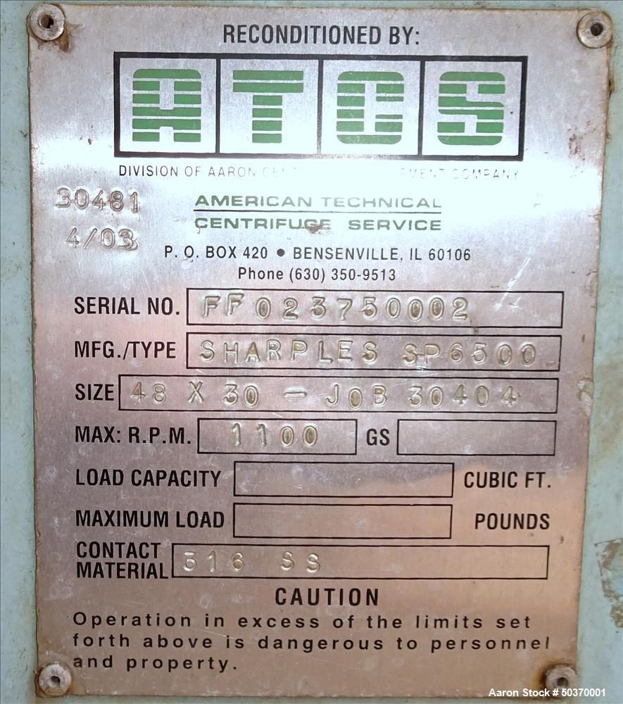 "Used- Sharples 48"" x 30"" Perforated Basket Basket Centrifuge"
