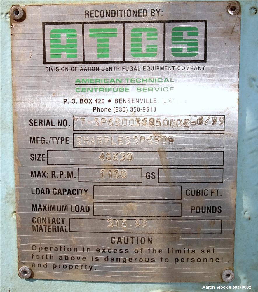 "Used- Sharples 48"" x 30"" Perforated Basket Basket Centrifuge."