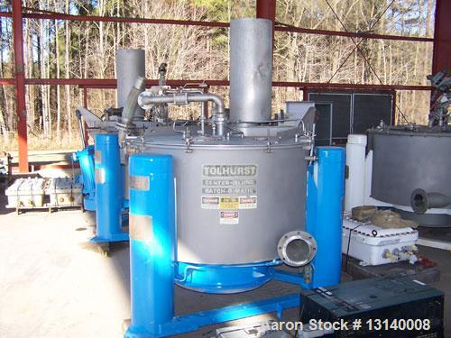 "Used-Tolhurst Batch-O-Matic Mark III 48"" x 24"" Perforated Basket Centrifuge.  Flip top design.  Constructed of Hastelloy C-2..."