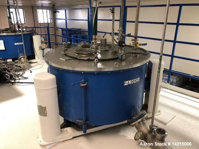 "Used- Tolhurst Center Slung Top Unload Basket Centrifuge. 48"" diameter x 22"" high. Stainless steel. Previously used on Marig..."