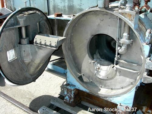 "Used- Baker Perkins HS-20W Peeler Centrifuge, 316 Stainless Steel. 20"" Diameter x 10"" deep bowl, 1900 rpm. Requires an appro..."