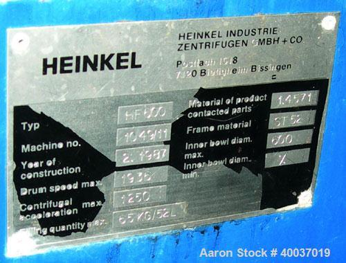 Used: Heinkel model HF600 inverting filter centrifuge. Wetted parts 316 stainless steel. 600 mm bowl, max bowl speed 1936 rp...
