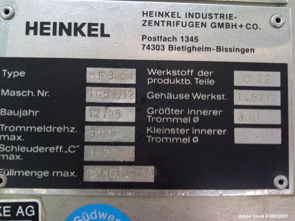 Used- Heinkel HF-300.1 Inverting Filter Centrifuge