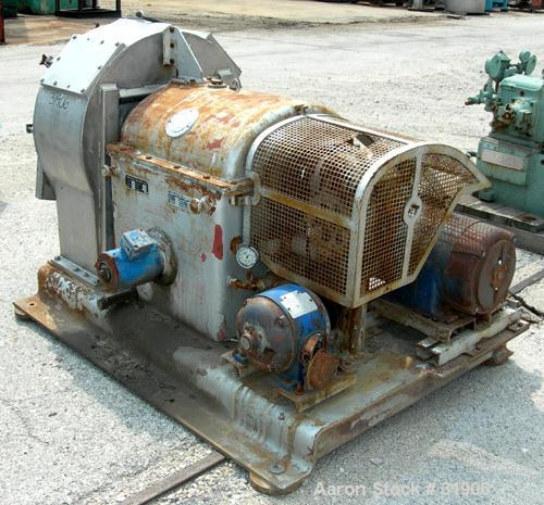 """USED: Krauss-Maffei VH horizontal vibrating centrifuge, 316 stainless steel product contact areas. Conical basket 24"""" diamet..."""