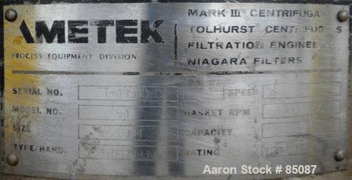 Used- Ametek Centerslung Perforated Basket Centrifuge, Model 84