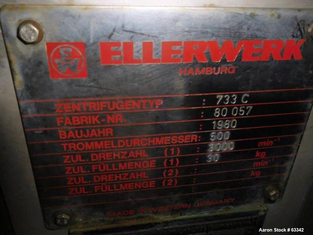 Used- Ellerwerk Perforated Basket Centrifuge, Type 733C