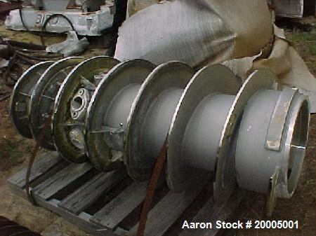 Used-Sharples P-5000 stainless steel conveyor. 8'' pitch hard surfaced. Straight through feed nozzles with Carbide inserts. ...