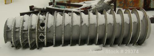 """USED: Sharples P5400 conveyor. Stainless steel construction, 5"""" single lead with STC tiles and 2 bolt feed nozzles."""