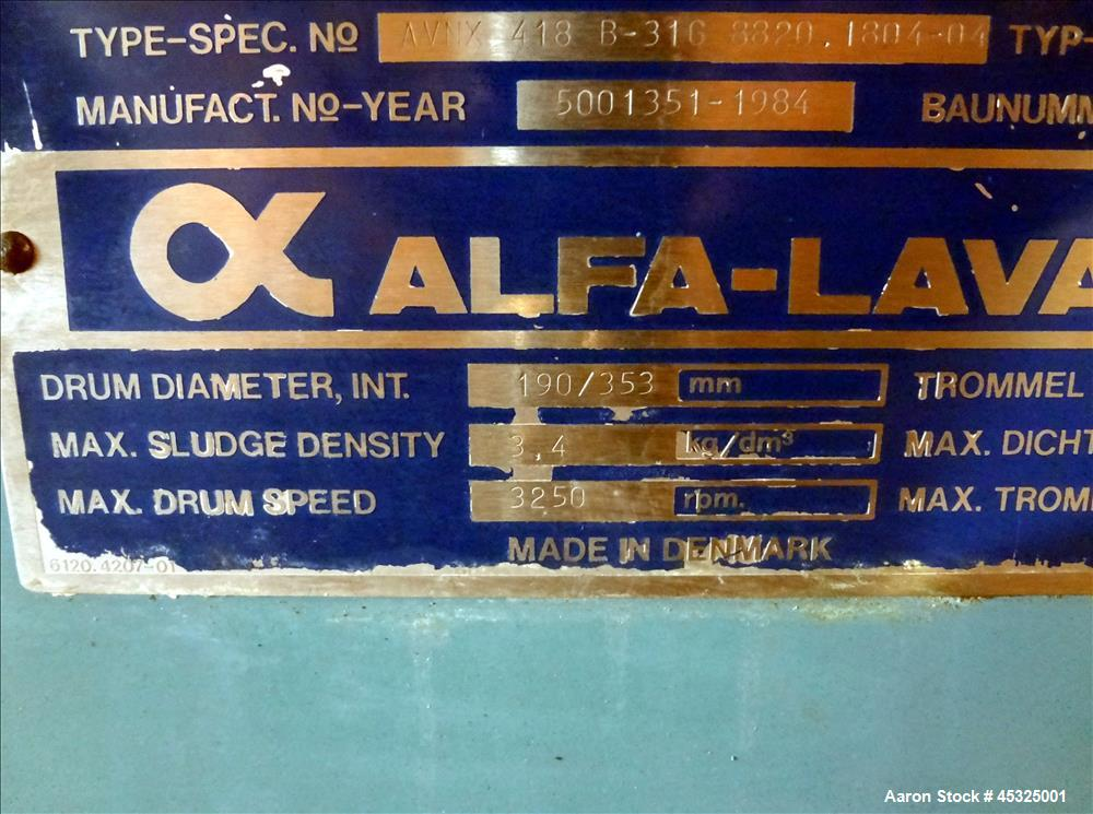 Used- Alfa Laval Solid Bowl Decanter Centrifuge. Model AVNX-418B-31G