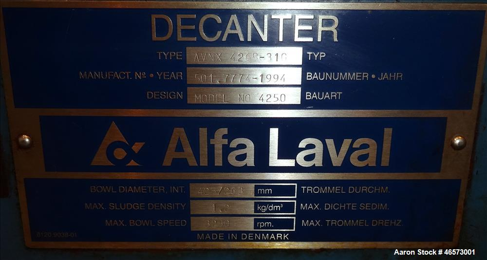 Used- Alfa Laval AVNX-426B-31G Solid Bowl Decanter Centrifuge