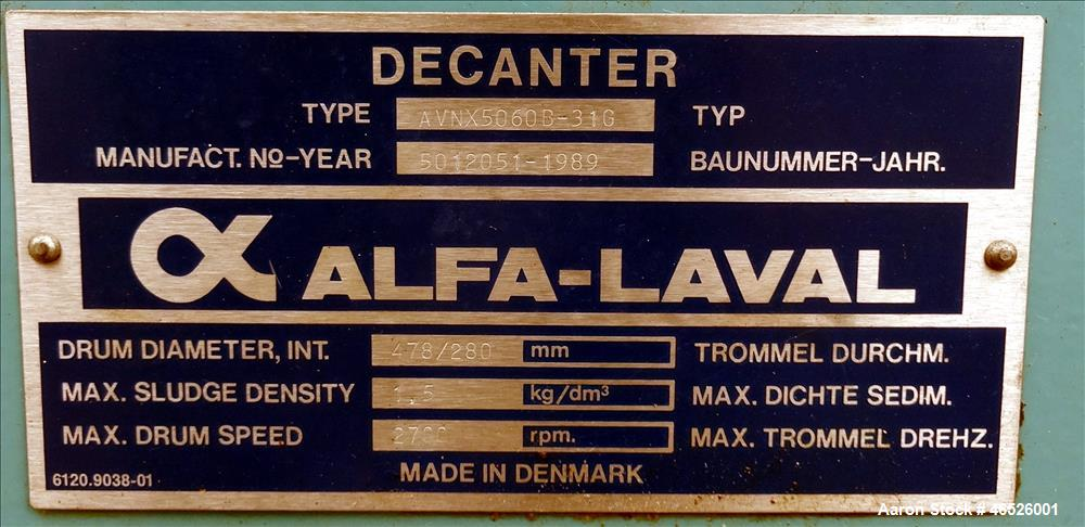 Used- Alfa Laval AVNX-5060B-31G Solid Bowl Decanter Centrifuge