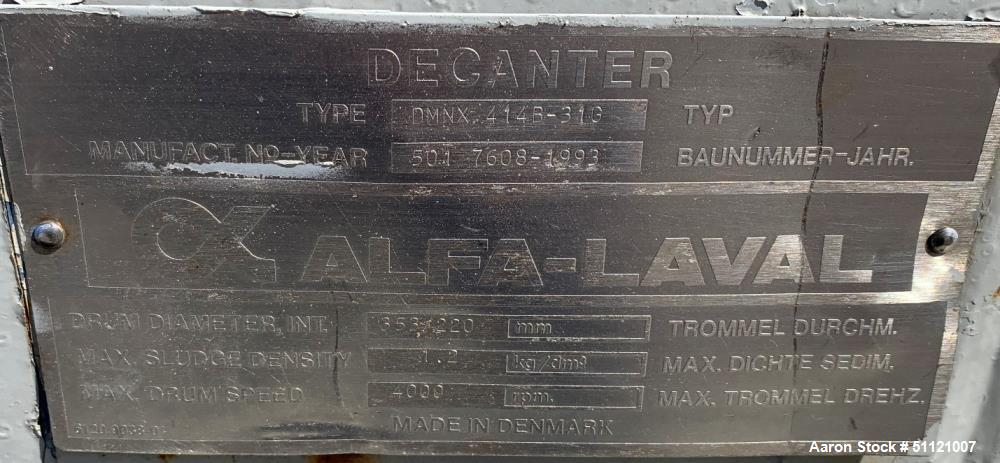 Used- Alfa Laval Decanter Centrifuge, Model DMNX414B-310