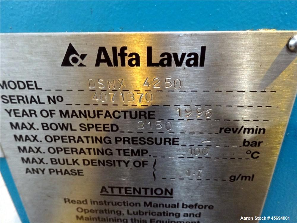Used- Alfa Laval/Sharples DSNX-4250 (PM-36000) Super-D-Canter Centrifuge (dry so