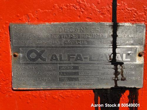 "Used- Alfa Laval DMNX-414B-31G ""Drilling Mud"" Solid Bowl Decanter Centrifuge"
