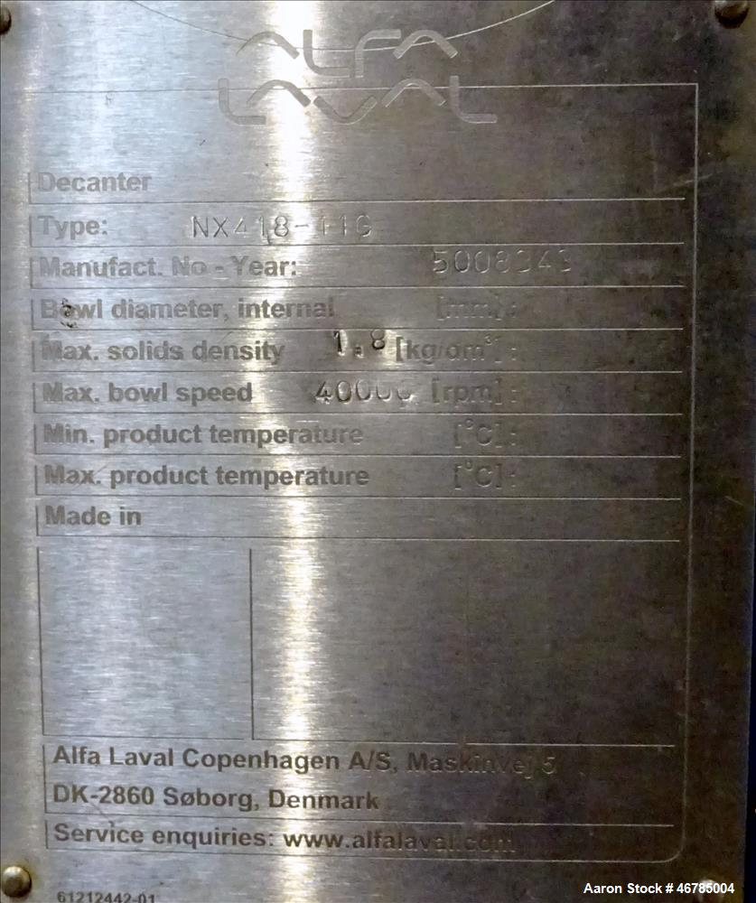 Used- Alfa Laval AVNX-418B-11G (Three-Phase) Solid Bowl Decanter Centrifuge.
