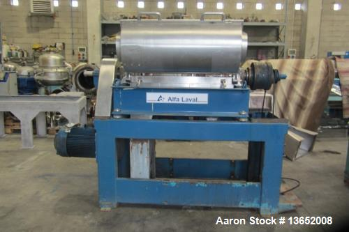 Used- Alfa Laval UVNX-314B-31G Solid Bowl Decanter Centrifuge. 3 way, 316 stainless steel (product contact areas). Maximum b...