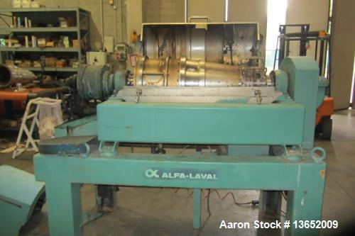 Used- Alfa Laval UVNX-414B-31G Solid Bowl Decanter Centrifuge. 3 way, 316 stainless steel (product contact areas). Maximum b...