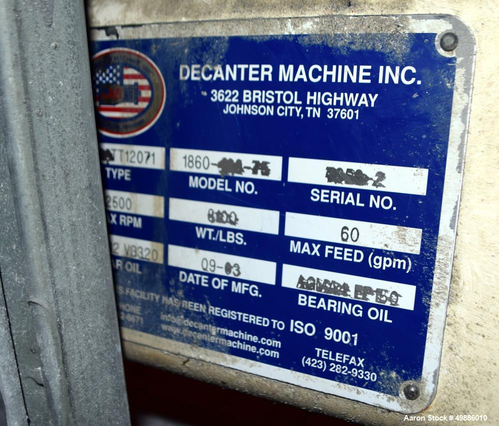 Used- FL Smith 1860 Sold Bowl Decanter Centrifuge