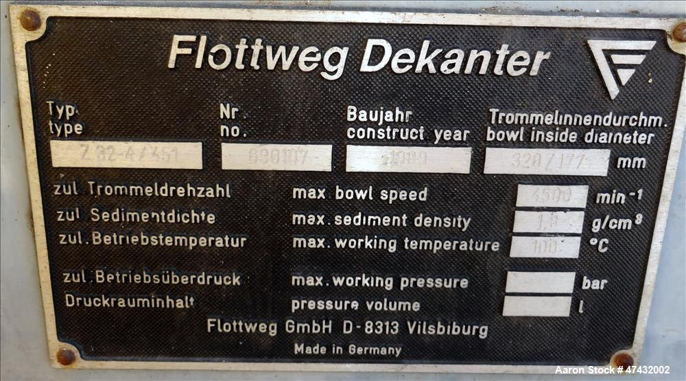 Used- Flottweg Z32-4/451 Solid Bowl Decanter Centrifuge