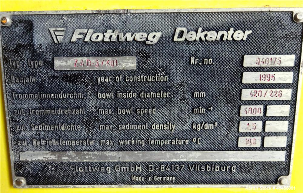Used- Flottweg Z4D-3/401 Decanter Solid Bowl Decanter Centrifuge.