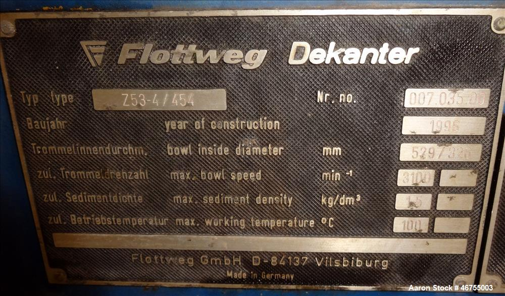Used-Flottweg Z53/4-454 OSE Solid Bowl Decanter Centrifuge