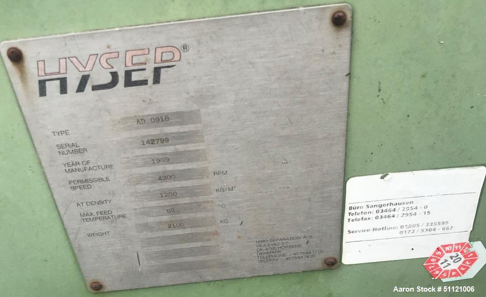 Used- Hysep High Speed Decanter Centrifuge, Model AD0918