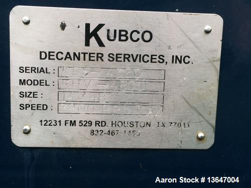 """Used- Kubco KHV 4800 """"Drilling Mud"""" Solid Bowl Decanter Centrifuge"""