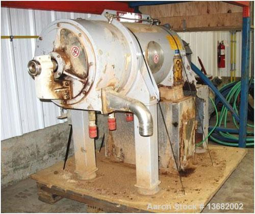 Used-Pieralisi Baby 11 Solid Bowl Decanter Centrifuge. Stainless steel construction on product contact areas. Max bowl speed...