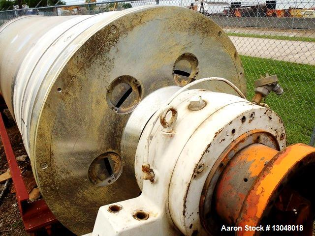 Used- Sharples PM-95000 Super-D-Canter Centrifuge, 316SS. Max bowl speed 2300 RPM, 3000 G's, rated at 540 GPM. FRP top cover...