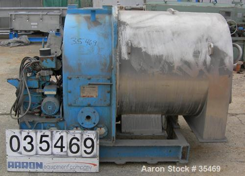 "USED: Tema Siebtechnik D-600-hw descade solid bowl decanter centrifuge, S/S. 24"" dia x 30"" long i.d., max bowl spd 2100 rpm,..."
