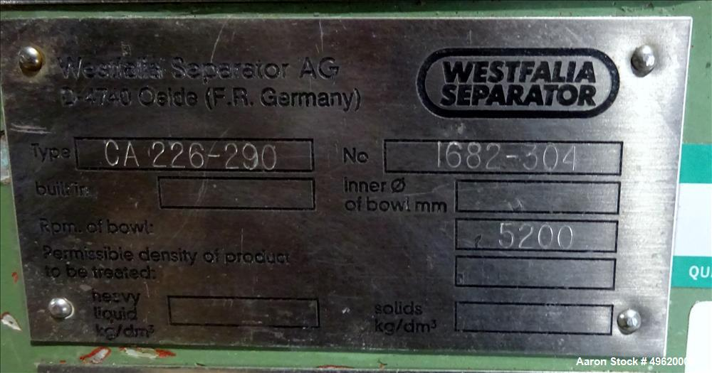 Used- Westfalia CA-226-290 Solid Bowl Decanter Centrifuge