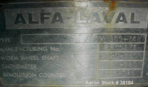 USED: Alfa-Laval AFPX-309-74B desludger centrifuge, 316 stainless steel, separator top feed. Driven by a 30 kw, 3/50/400/440...