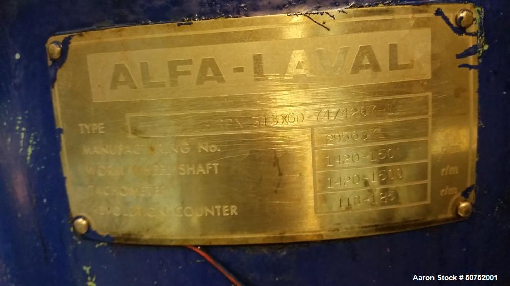 Used- Alfa Laval BRPX-313-XGD-74/4267-1 Desludger Disc Centrifuge