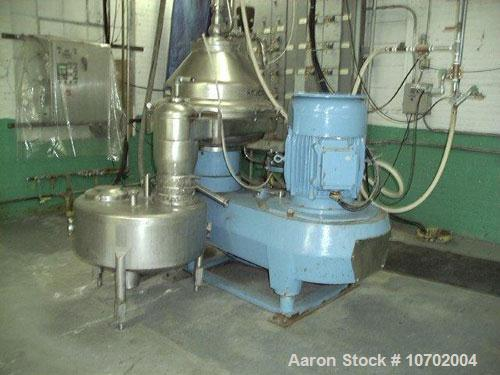 Used-Alfa Laval BRPX-417-SFV-31C-60 Desludger Disc Centrifuge. Stainless steel construction (product contact areas), clarifi...